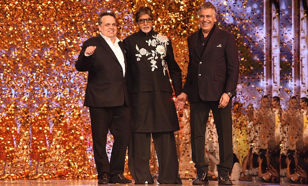 Abu Jani and Sandeep Khosla fashion designers with Amitabh Bachchan